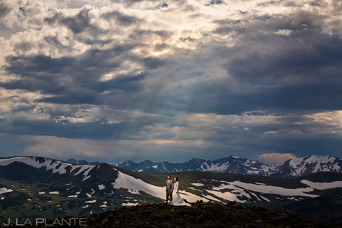 Epic Bride and Groom Sunset Portrait | Rocky Mountain National Park Wedding | Estes Park Wedding Photographer | J. La Plante Photo