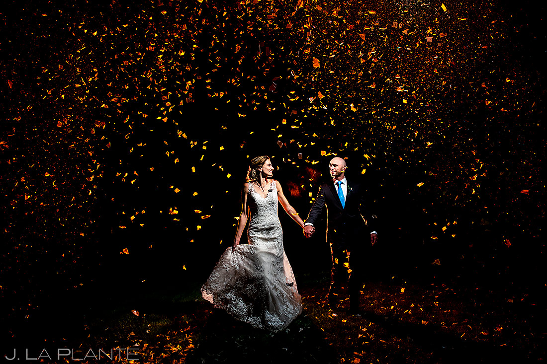 Bride and Groom Confetti Cannons | Shupe Homestead Wedding | Colorado Wedding Photographer | J. La Plante Photo