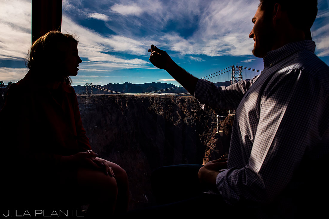 Bride and Groom Riding Gondola | Colorado Engagement | Colorado Wedding Photographer | J. La Plante Photo