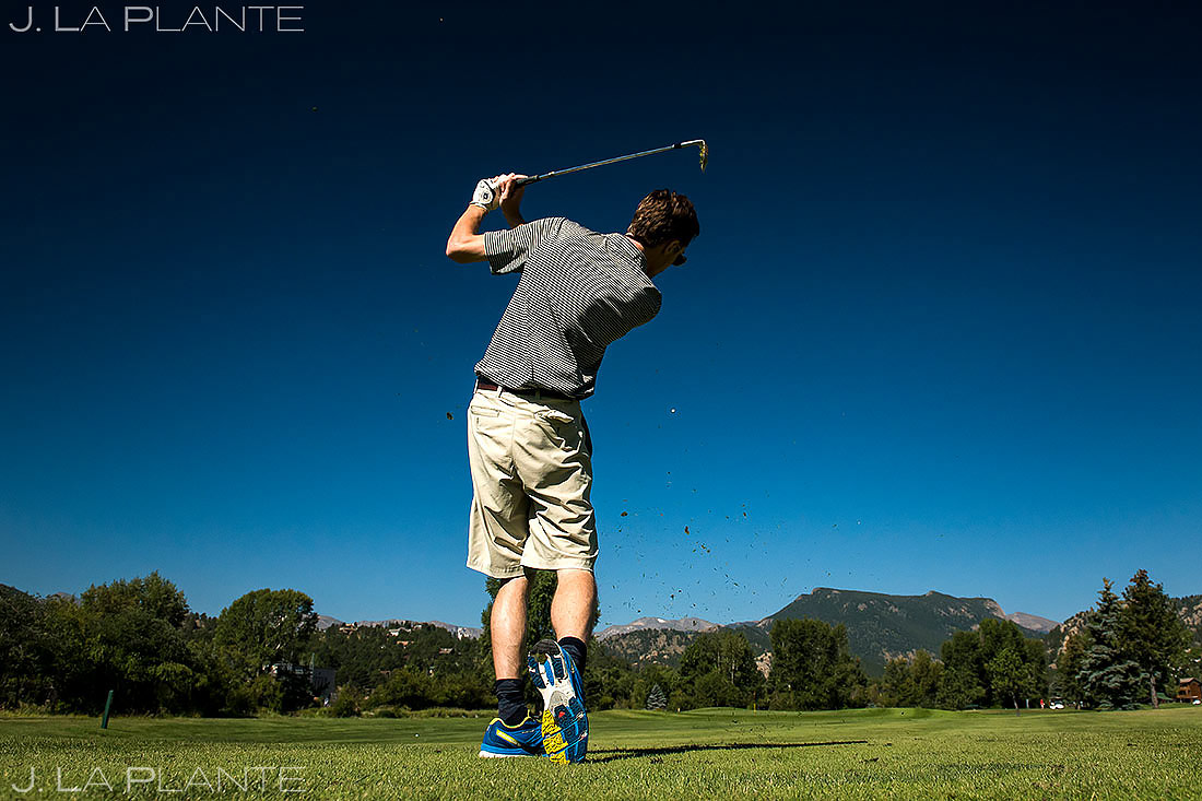 Groom Playing Golf Before Wedding | Dao House Wedding | Estes Park Wedding Photographer | J. La Plante Photo