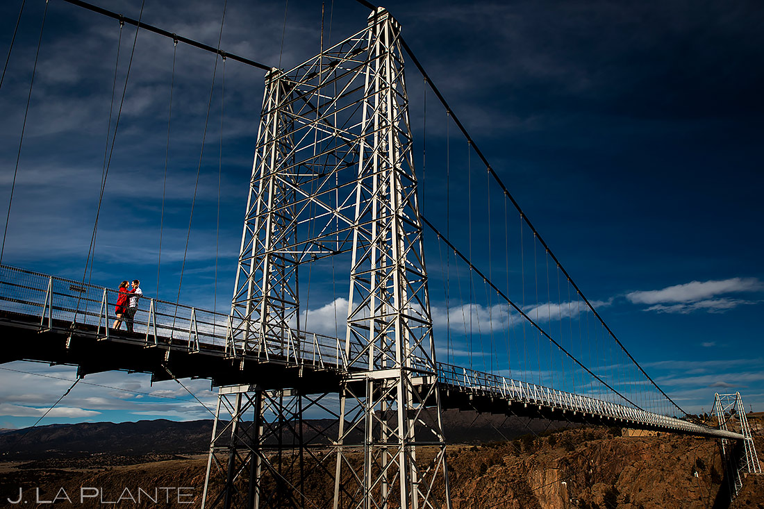 Bride and Groom on Royal Gorge Bridge | Colorado Engagement | Colorado Wedding Photographer | J. La Plante Photo