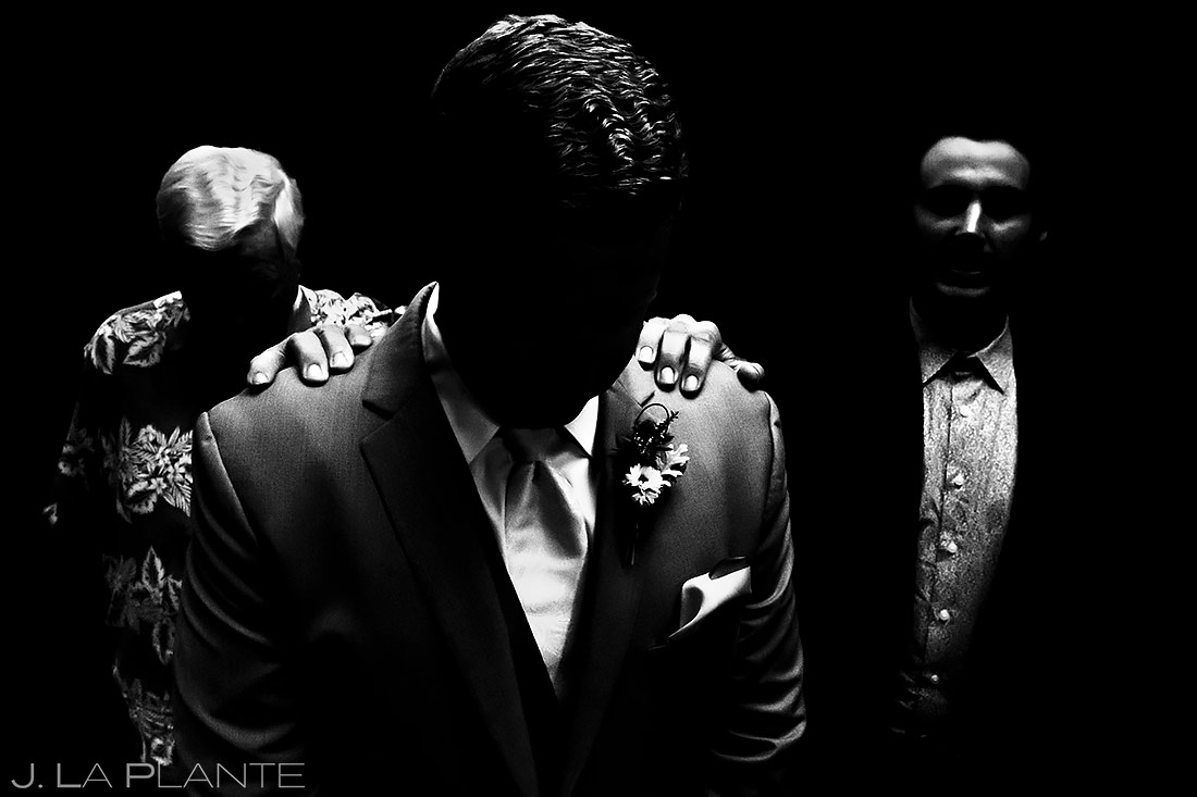 Groom Praying with Groomsmen | Lionsgate Wedding | Boulder Wedding Photographer | J. La Plante Photo