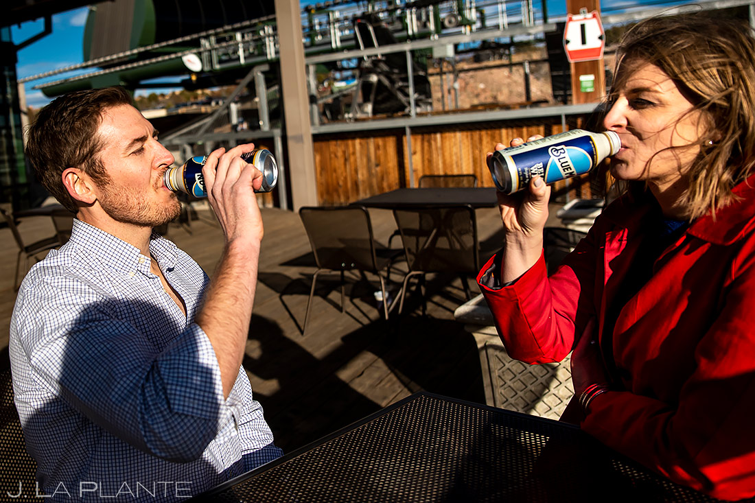Bride and Groom Drinking Beers | Royal Gorge Engagement | Colorado Wedding Photographer | J. La Plante Photo