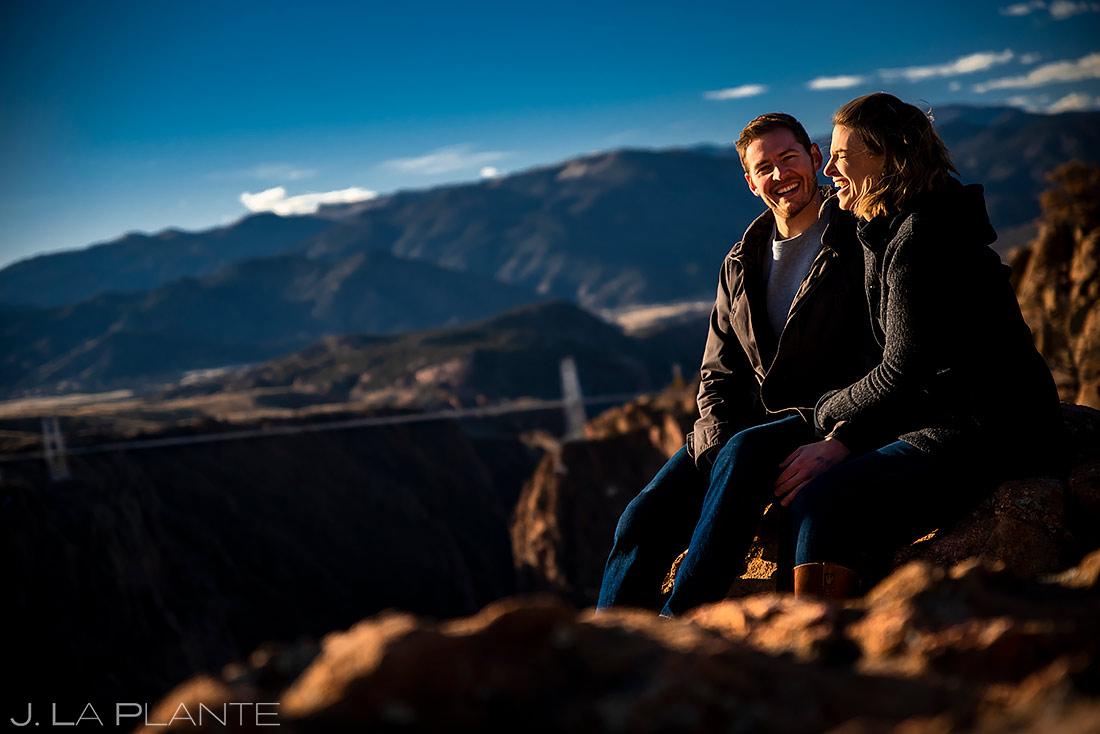 Bride and Groom at the Royal Gorge Bridge | Royal Gorge Engagement | Colorado Wedding Photographer | J. La Plante Photo