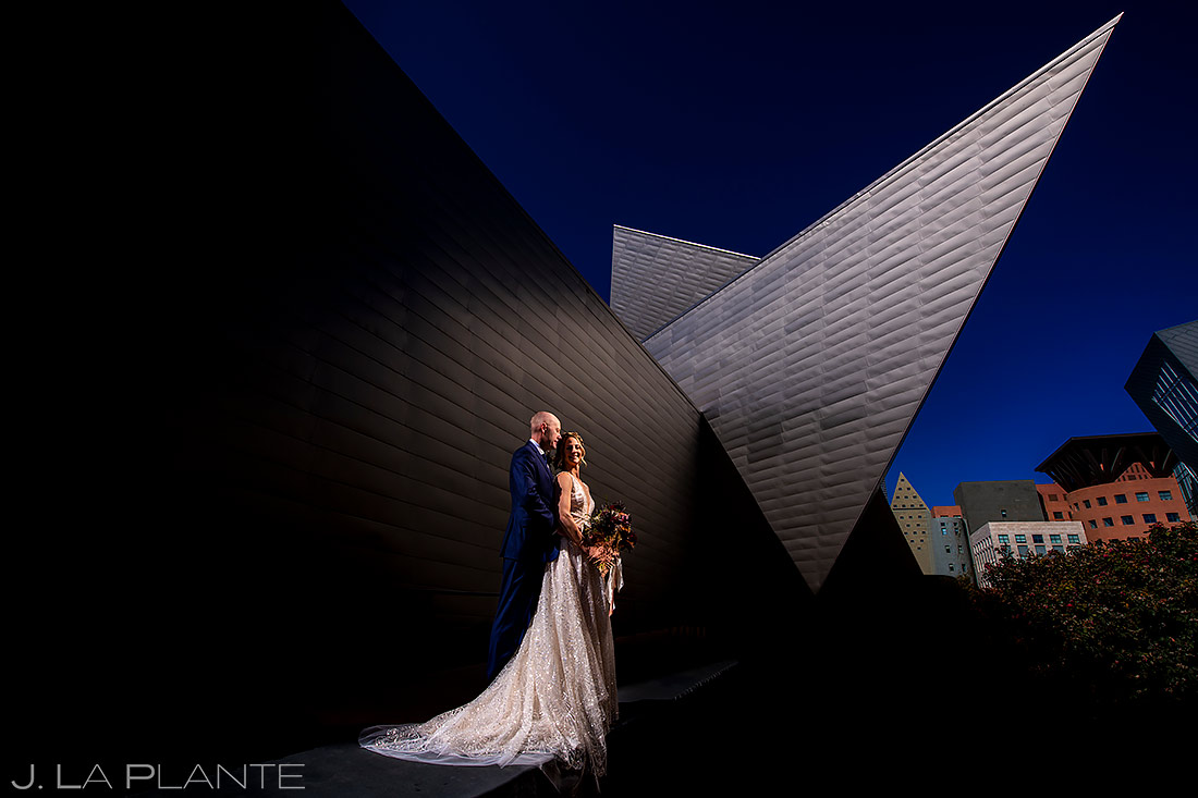 Unique Portrait of Bride and Groom | Denver Art Museum Wedding | Denver Wedding Photographer | J. La Plante Photo