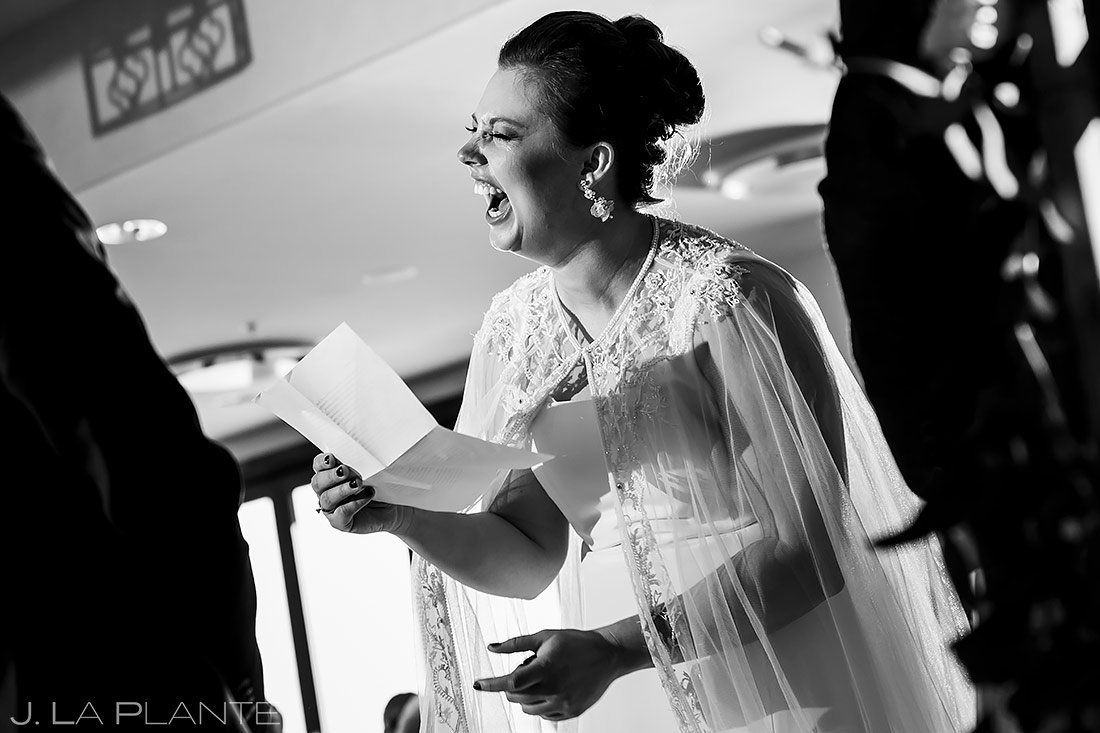 Bride Laughing During Ceremony | Pinery at the Hill Wedding | Colorado Springs Wedding Photographer | J. La Plante Photo