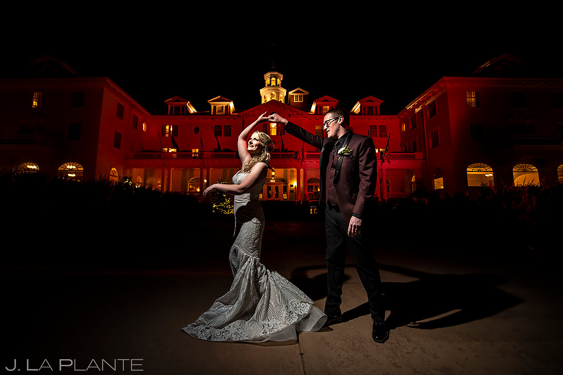 Nighttime Wedding Portrait | Stanley Hotel Wedding | Estes Park Wedding Photographer | J. La Plante Photo