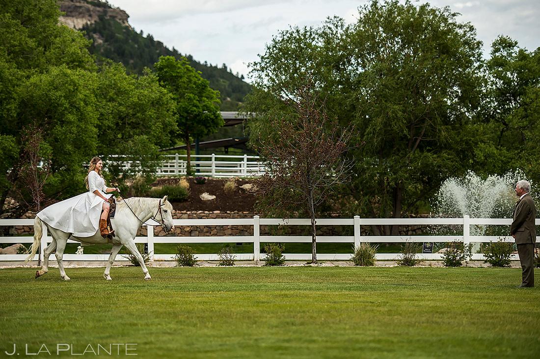 Bride Riding White Horse | Crooked Willow Farms Wedding | Colorado Wedding Photographer | J. La Plante Photo