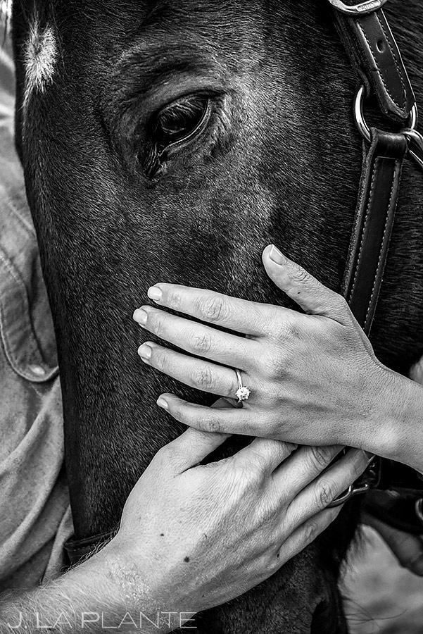 Bride and Groom with Horse | Colorado Horse Ranch Engagement | Colorado Wedding Photographer | J. La Plante Photo