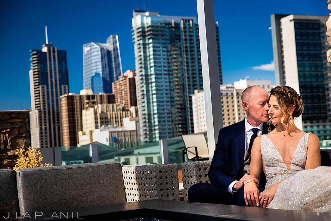 Ironworks Denver wedding bride and groom at rooftop bar