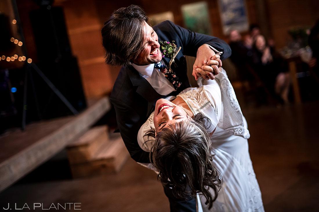 Planet Bluegrass wedding bride and groom first dance
