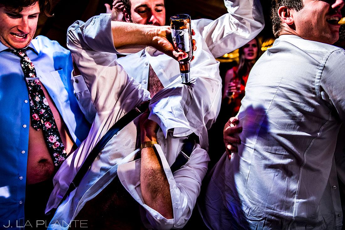 Camp Hale wedding groomsmen dancing