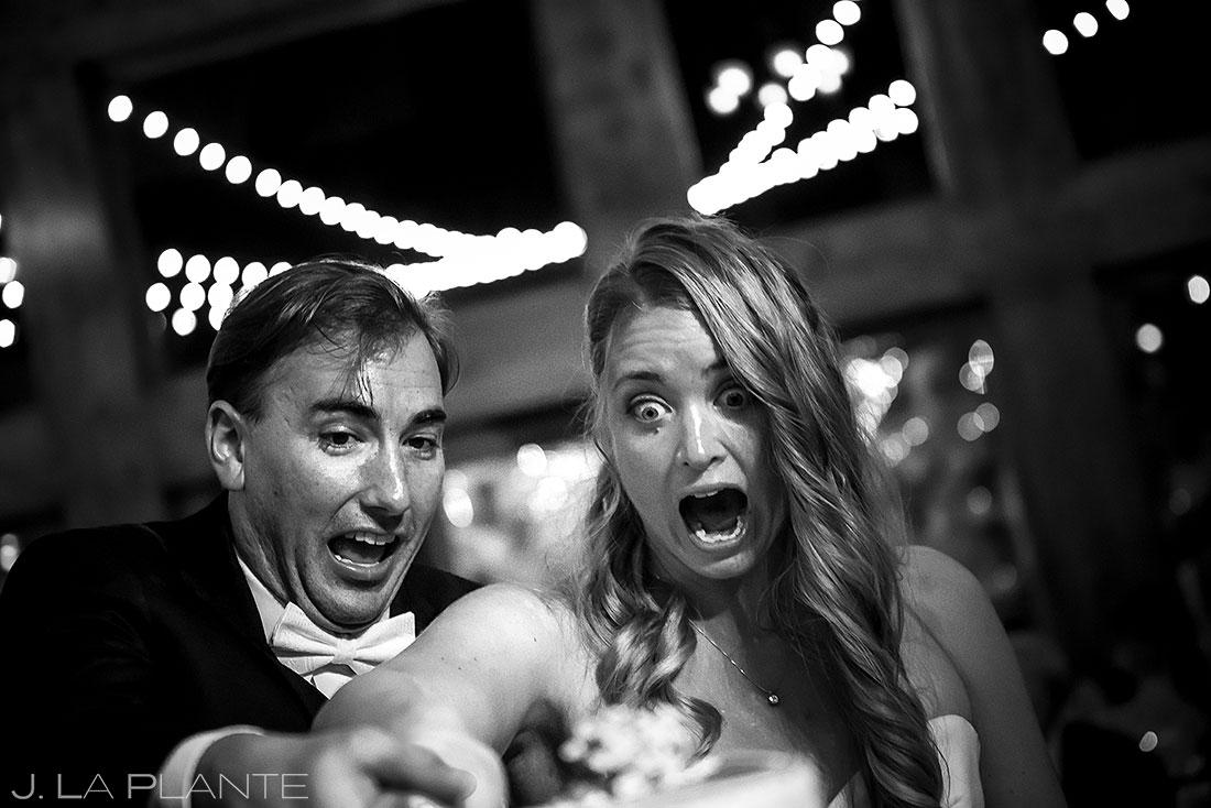Della Terra wedding bride and groom cake cutting fail