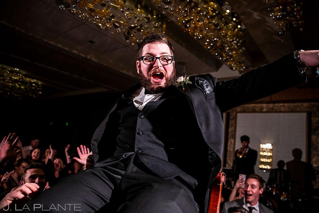 Grand Hyatt Denver wedding groom chair dance