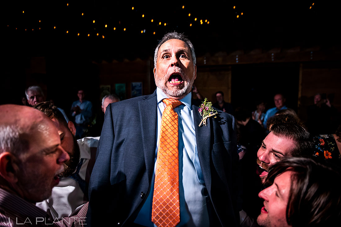 Planet Bluegrass wedding father of the groom chair dance