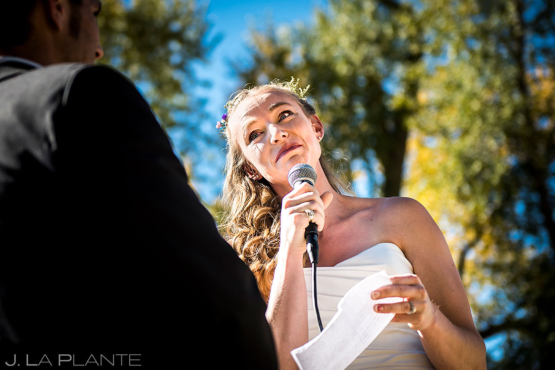 buena vista wedding bride crying during vows candid wedding photography