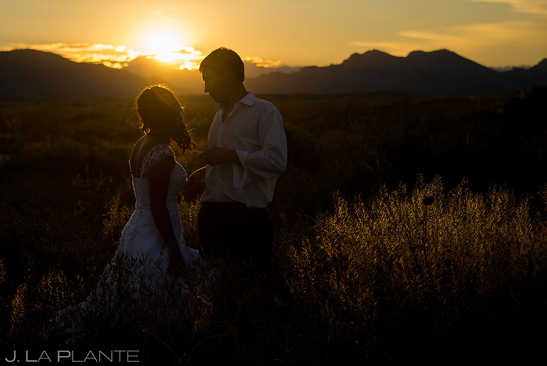 denver wedding bride and groom sunset wedding photo
