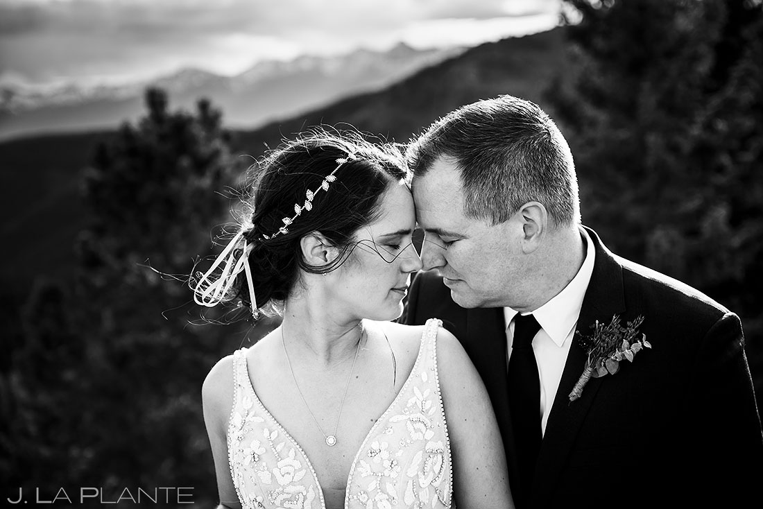 black and white portrait of bride and groom | mountain elopement in vail