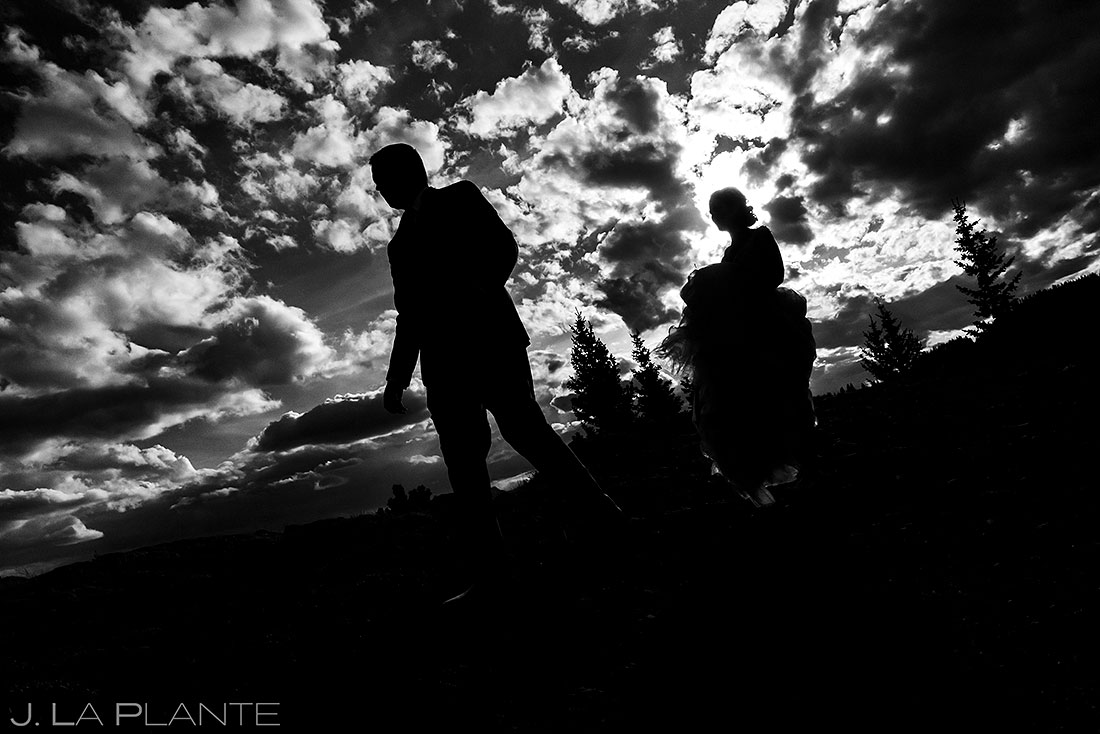 silhouette photo of the bride and groom