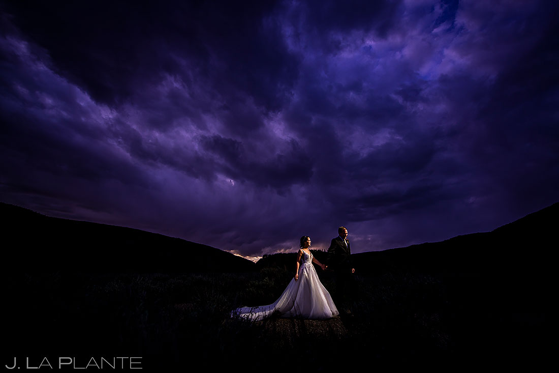 sunset wedding photo | mountain elopement in vail