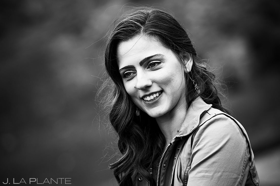 black and white portrait of bride to be