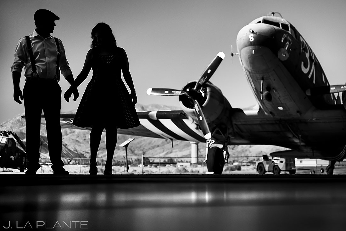 airplane engagement session | silhouette photo of bride and groom to be