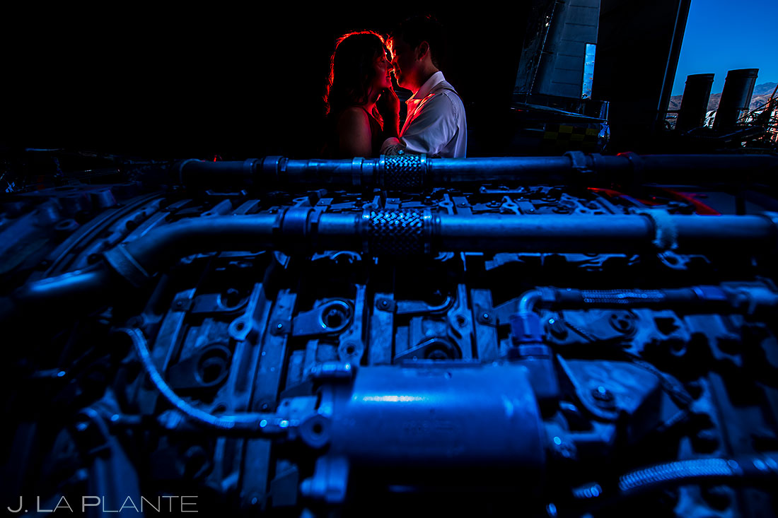 engagement photo inspiration | bride and groom with airplane engine