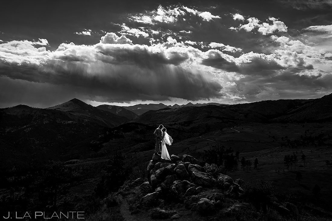 epic portrait of bride and groom at denver micro wedding