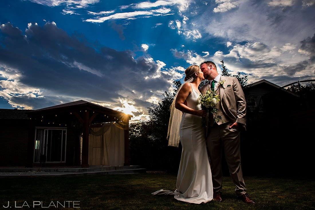 sunset wedding photo at denver micro wedding