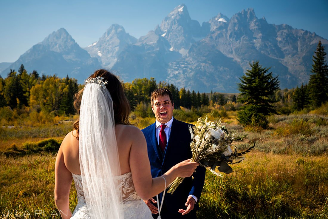 grand teton elopement bride and groom first look