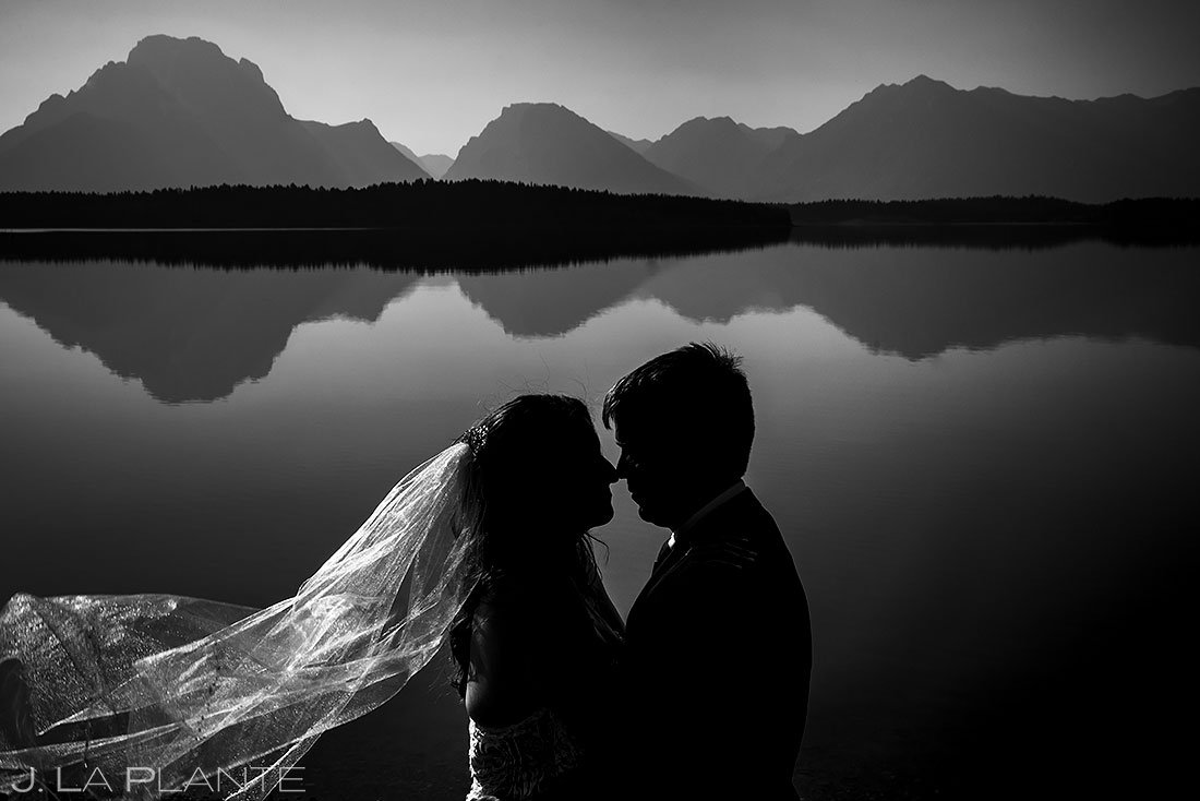 black and white potrait of bride and groom during grand teton elopement