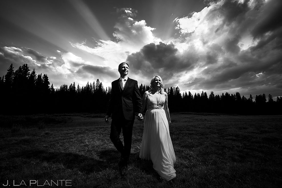 bride and groom photo at sunset during pandemic wedding
