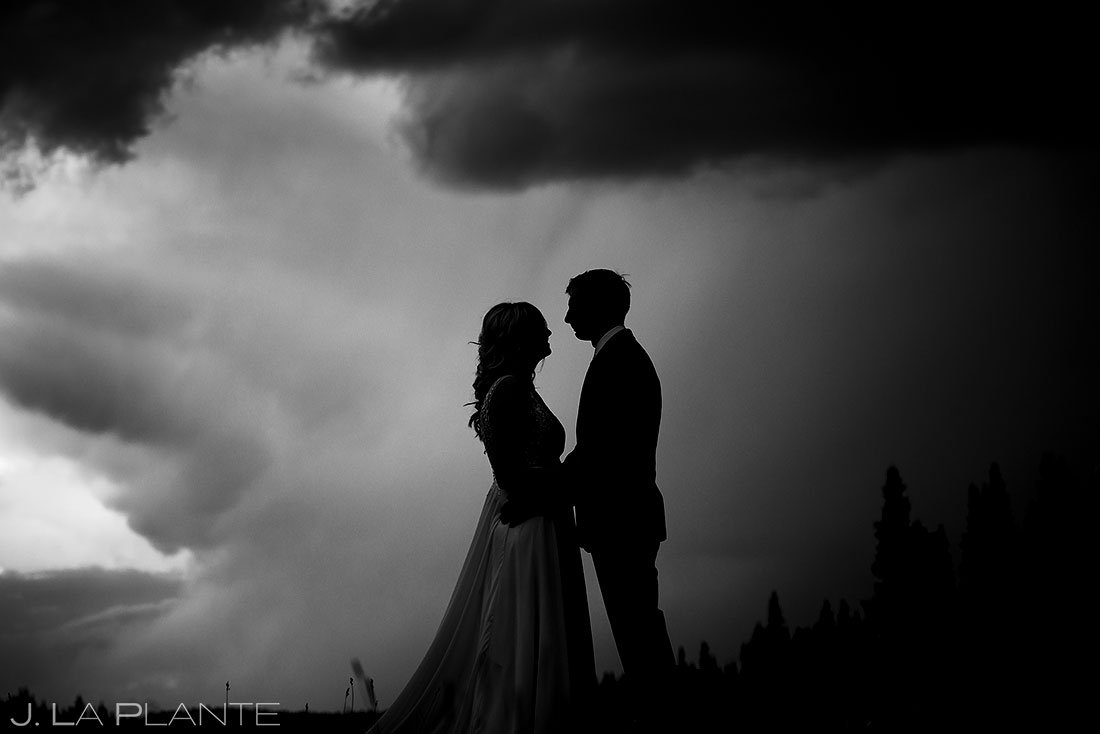 bride and groom silhouette photo in vail colorado