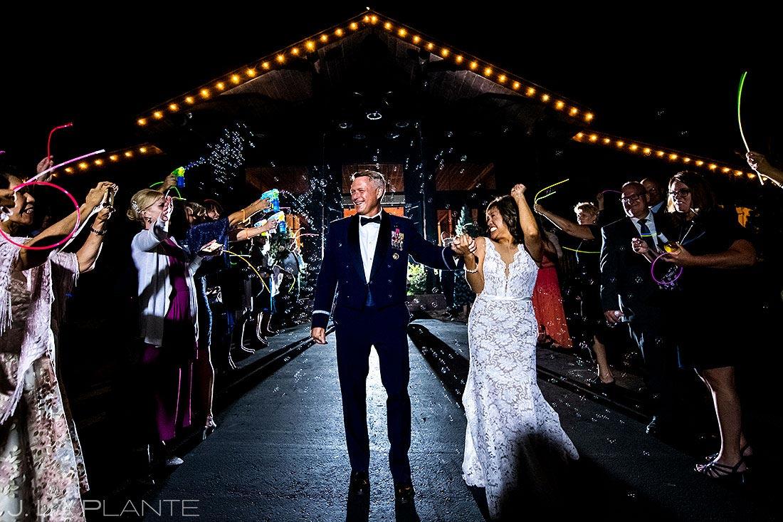 unique wedding send off ideas bride and groom bubble exit
