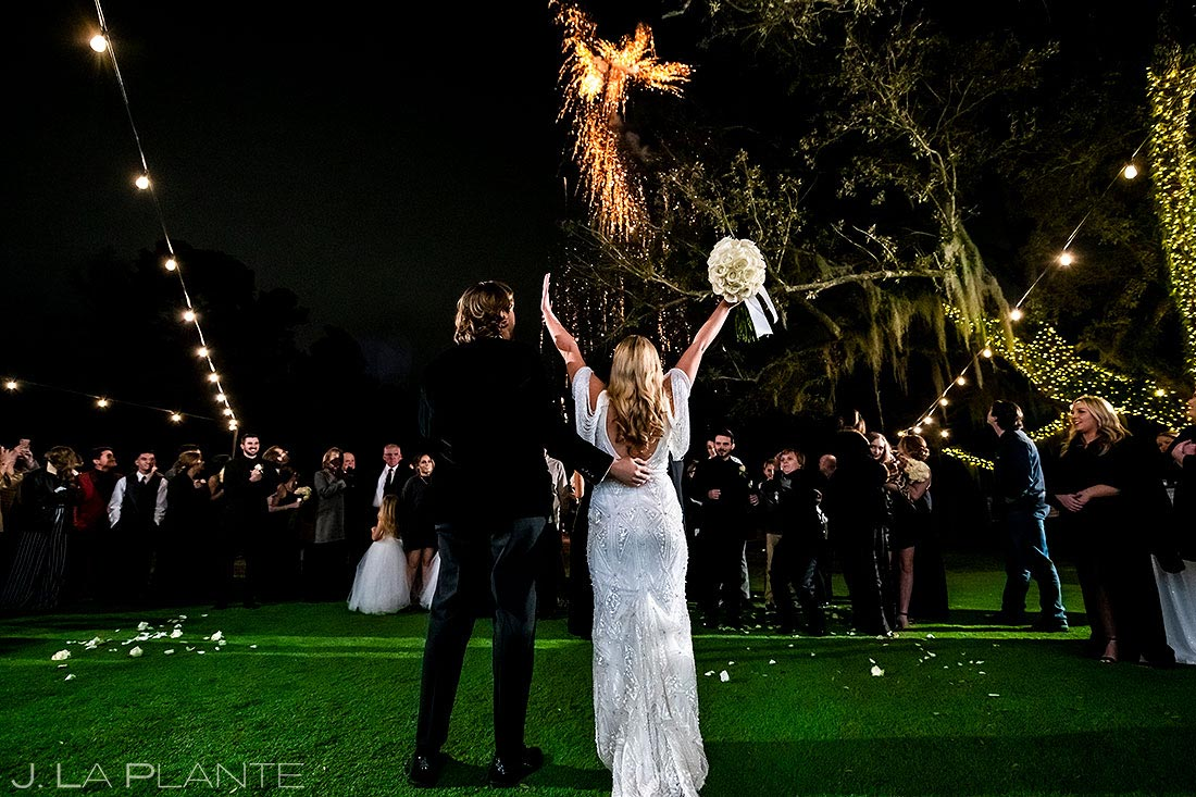 fireworks at outdoor wedding in houston texas